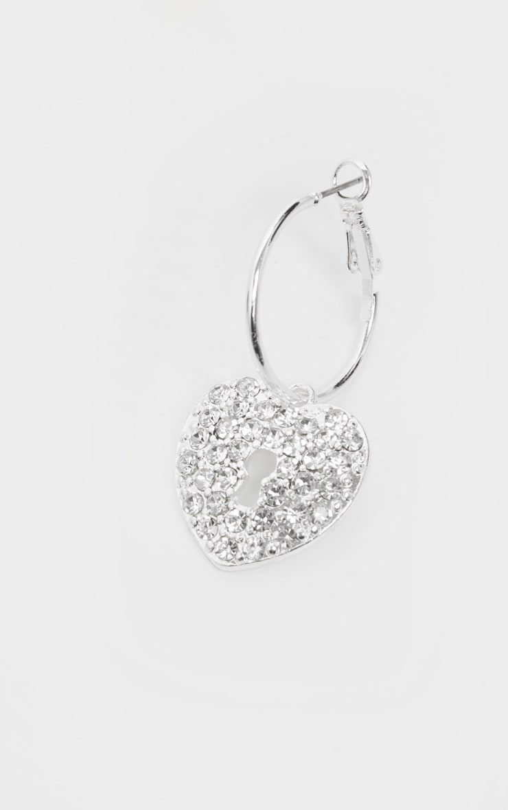 Silver Mini Hoops With Heart Padlock Earrings 3
