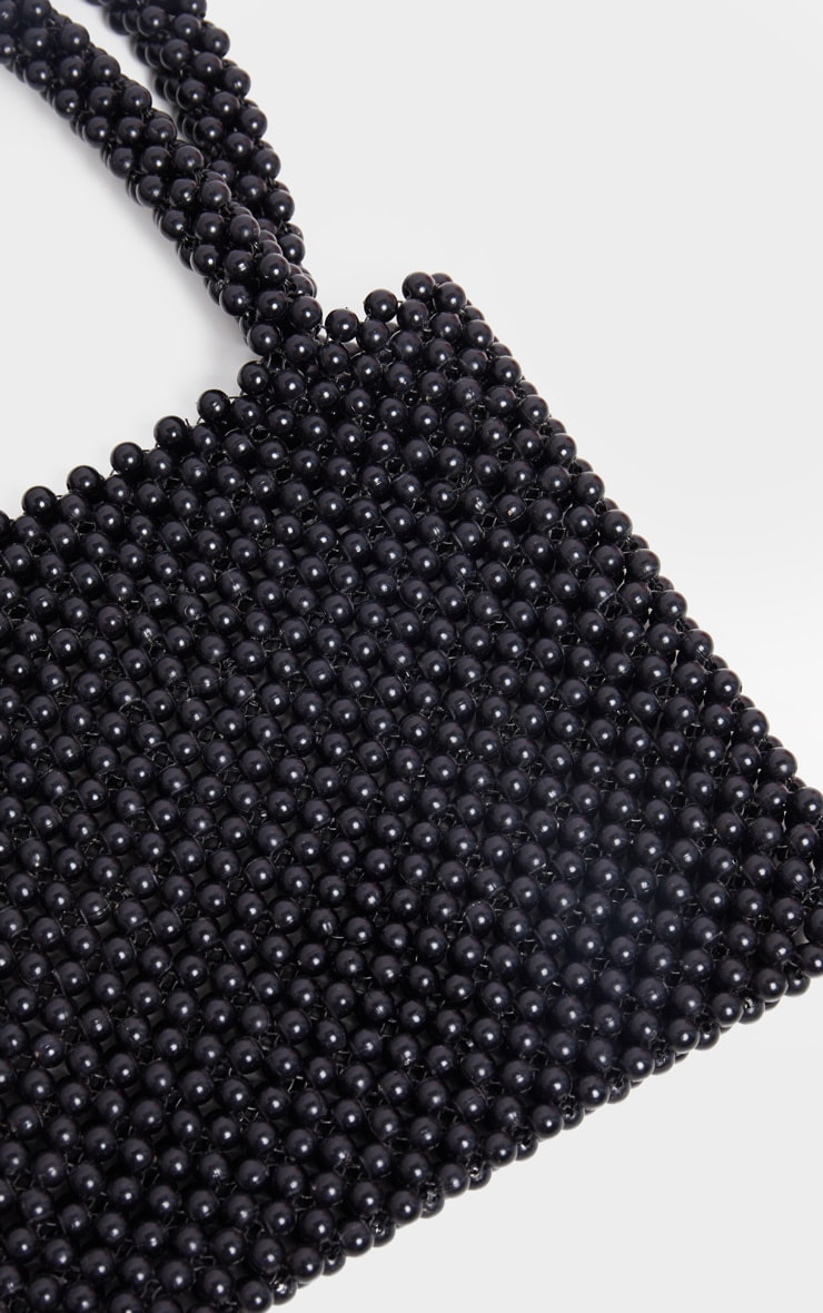 Black Beaded Rectangle Mini Bag 4