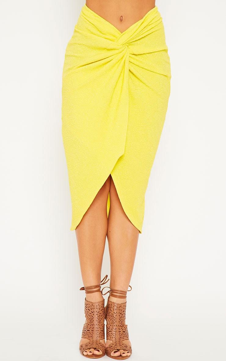 Florentina Yellow Textured Knot Front Midi Skirt 3