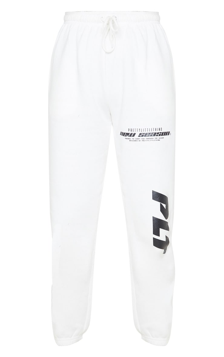 PRETTYLITTLETHING Cream New Season Slogan Joggers 3