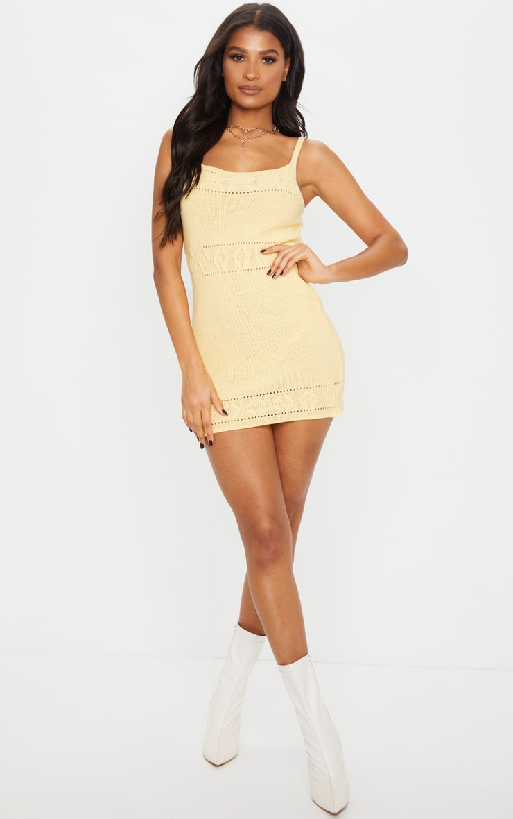 Yellow Textured Knitted Strappy Mini Dress 1