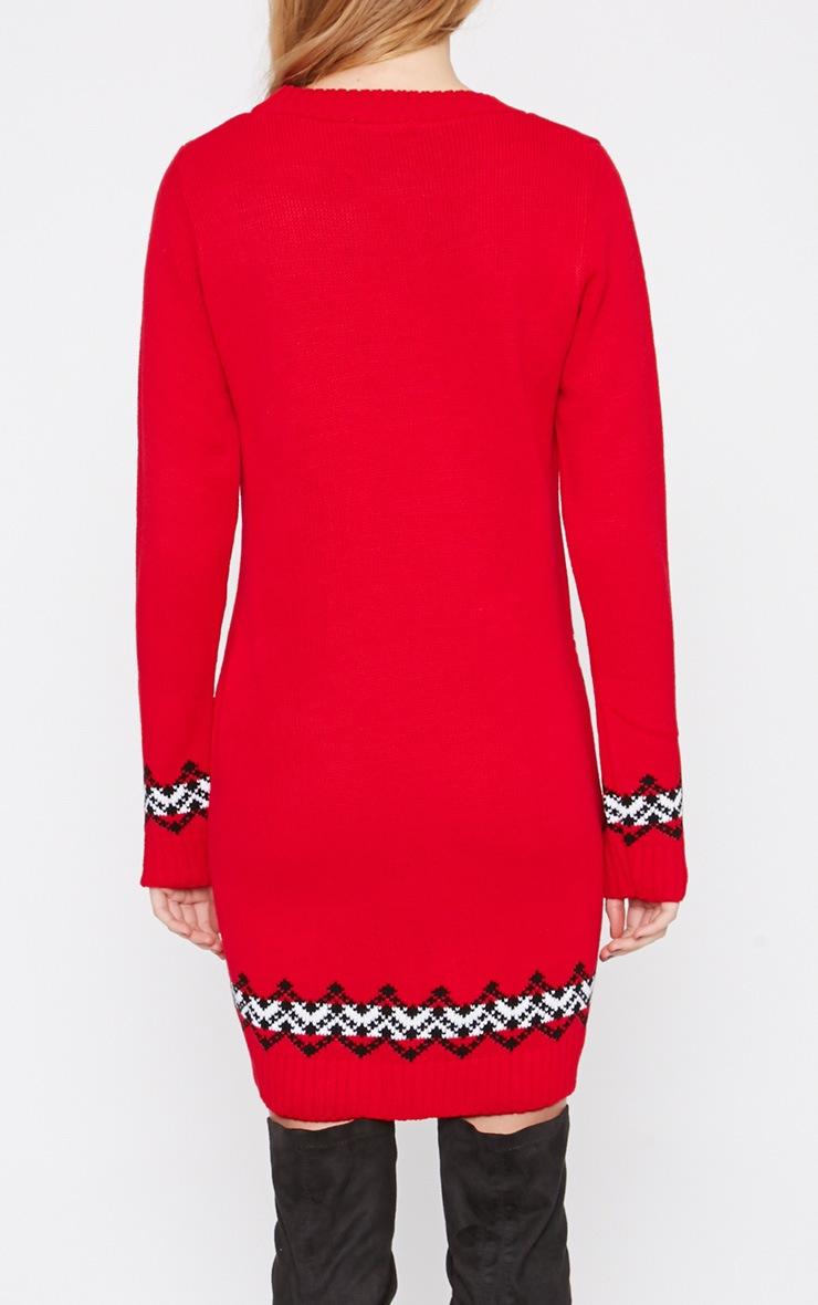Darina Red Reindeer Christmas Jumper Dress 2