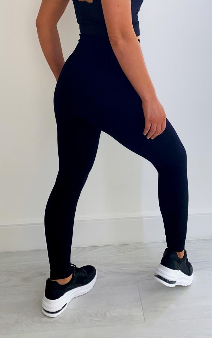 Black Textured Seamless High Waist Gym Leggings 3
