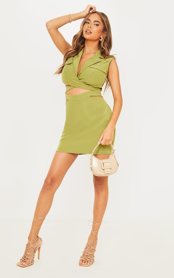Green Sleeveless Cut Out Wrap Blazer Dress 1