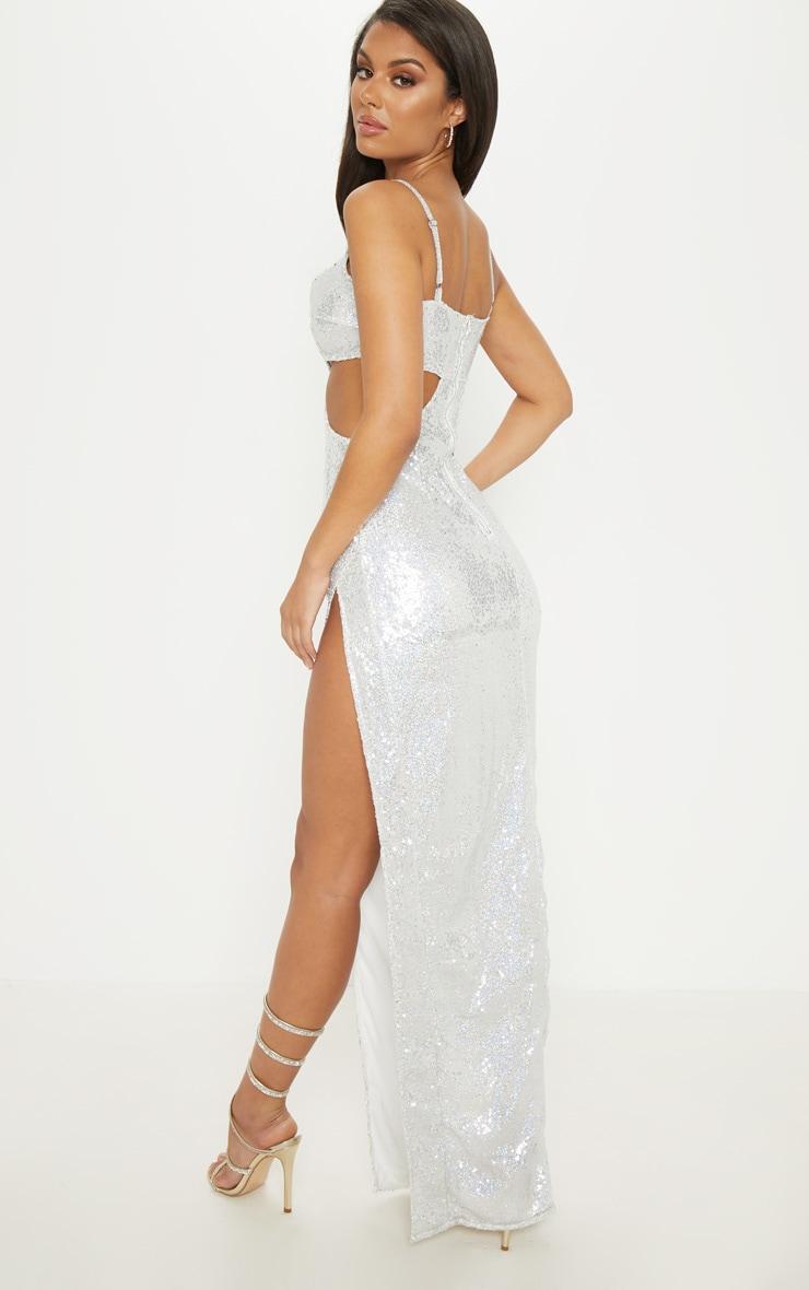 Silver Sequin Disc Cut Out Maxi Dress 2