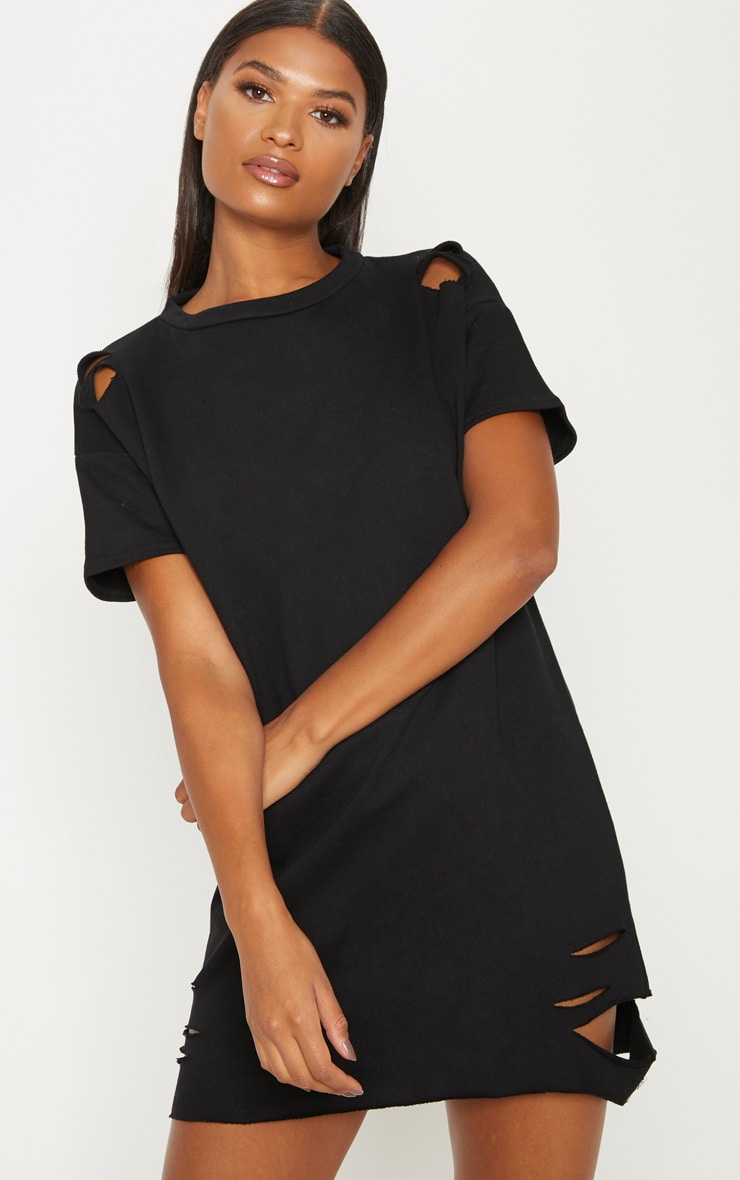 Orla Black Distressed Short Sleeve T-Shirt Dress 1