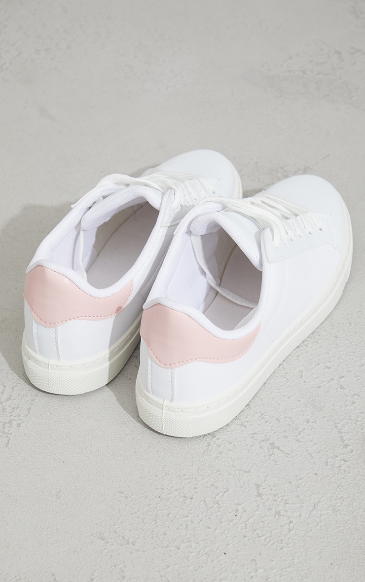 Pink Basic Lace Up Trainers 4