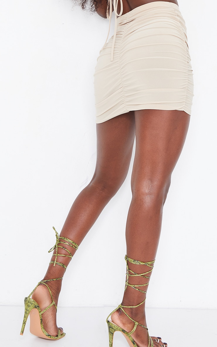 Stone Slinky Double Ruched Seam Mini Skirt 3