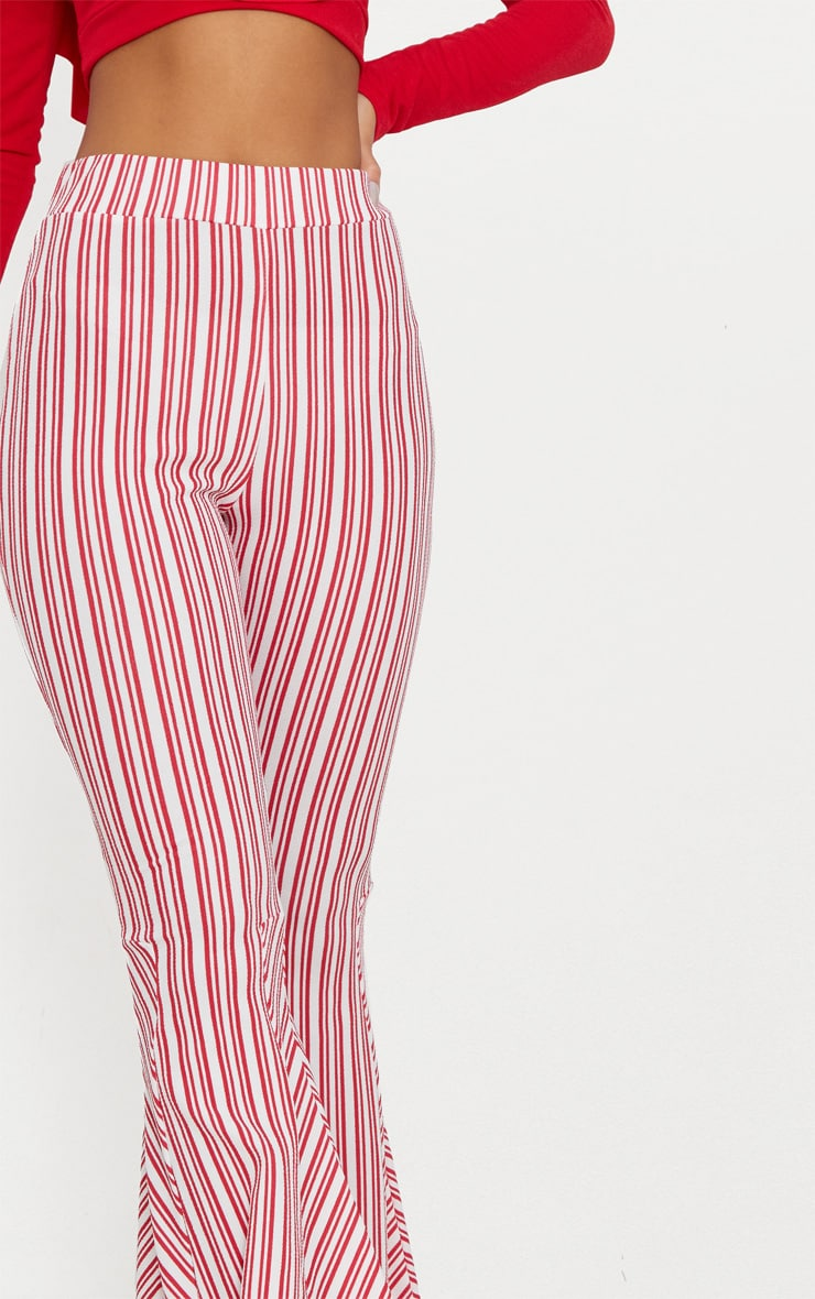 Red and White Stripe Extreme Flare Trouser 5