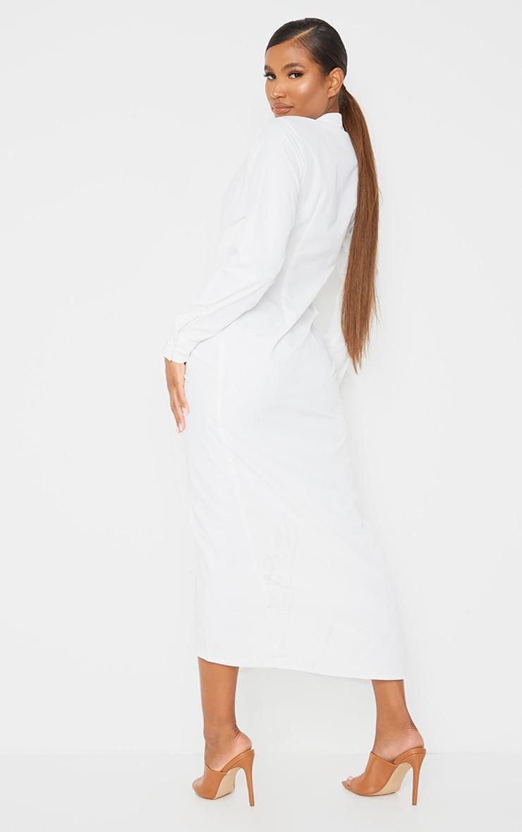 White Long Sleeve Plunge Drape Detail Midi Shirt Dress 2