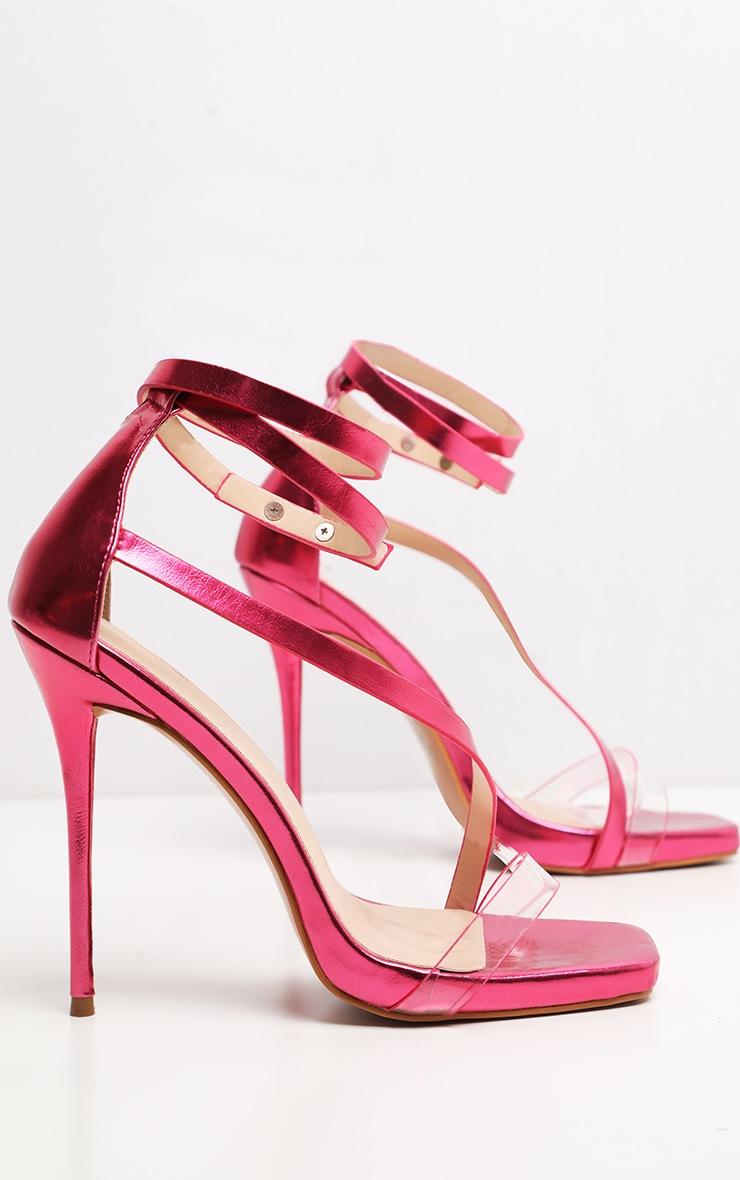 Pink Metallic Square Toe Asymmetric Strap Sandal 3