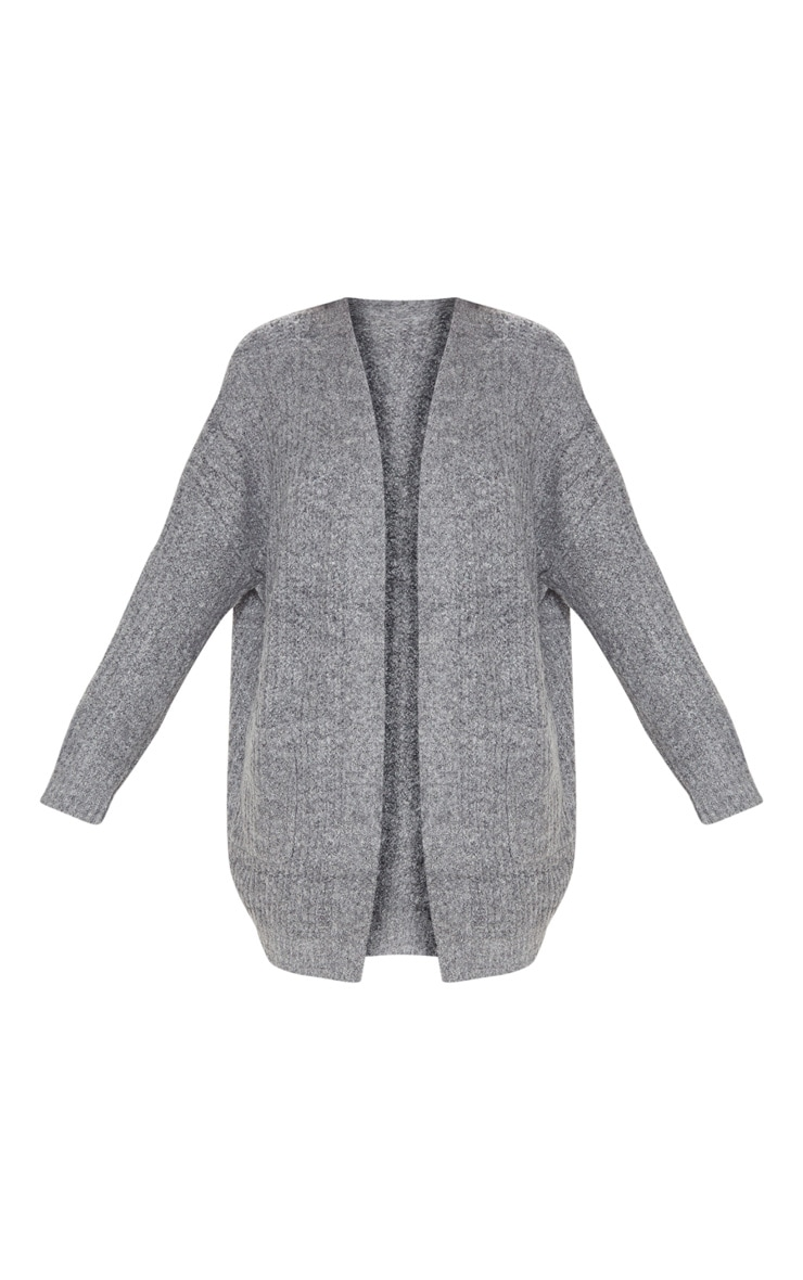 Grey Oversized Knitted Cardigan  3
