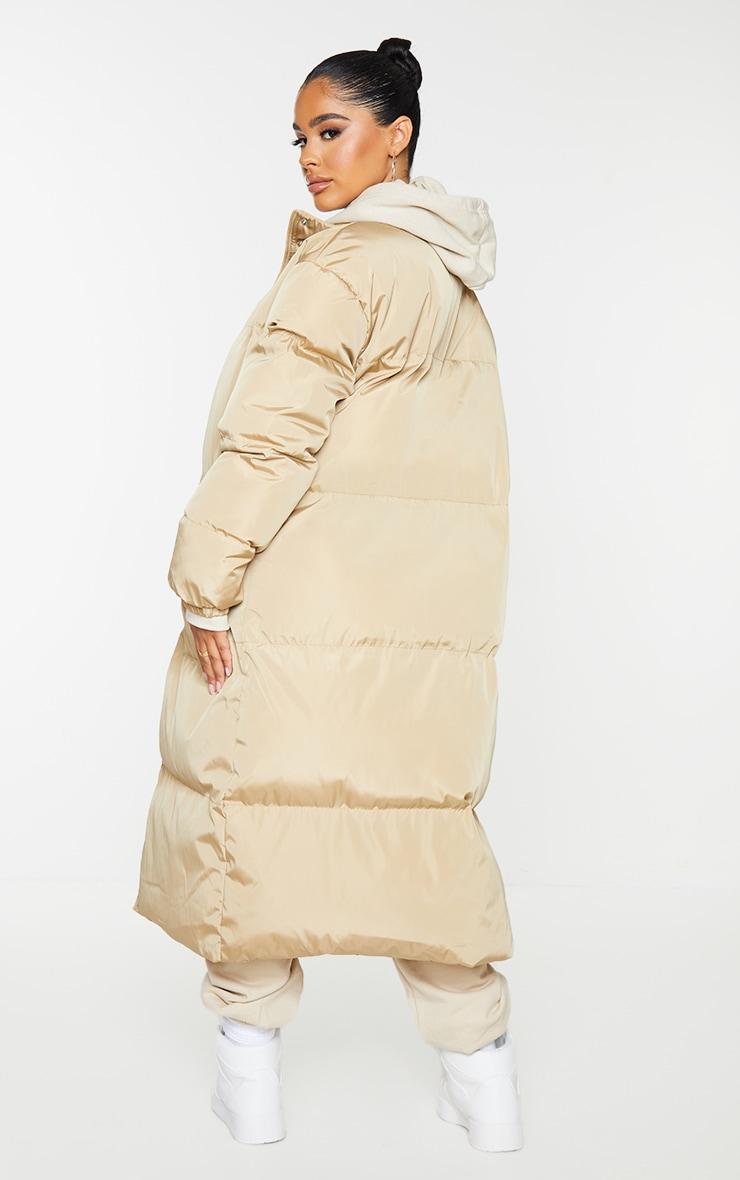 Petite Camel Maxi Puffer Coat 2