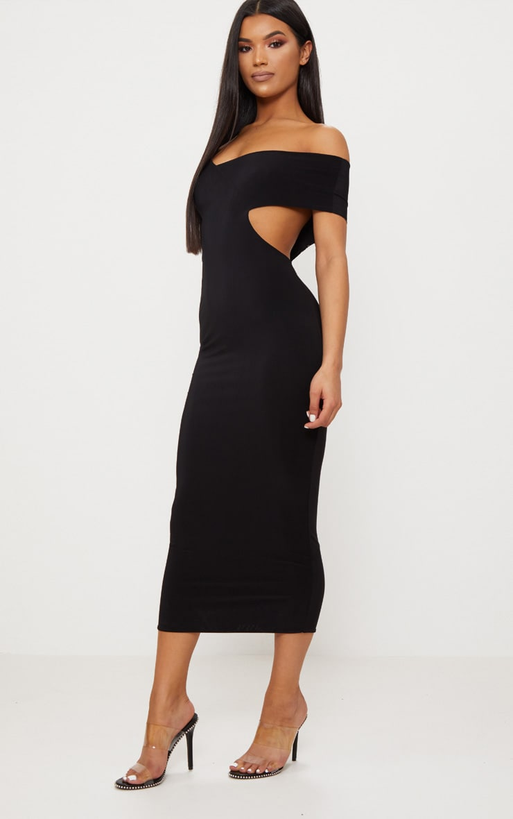 Black Double Layer Slinky One Sleeve Strap Detail Midaxi Dress 3