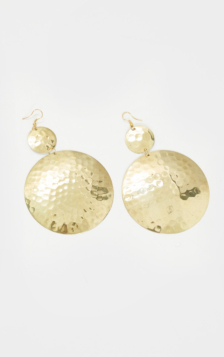 Gold Drop Circular Oversized Statement Earrings 2