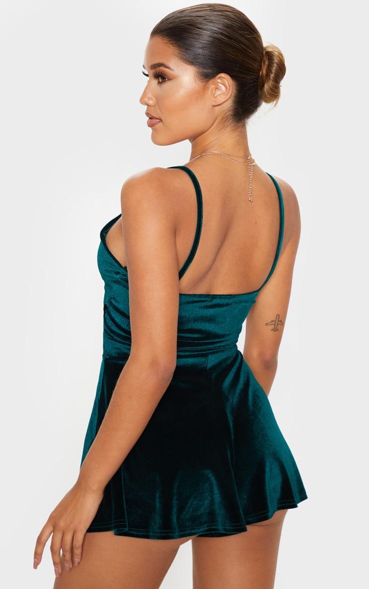 Emerald Velvet Strappy Twist Romper 2