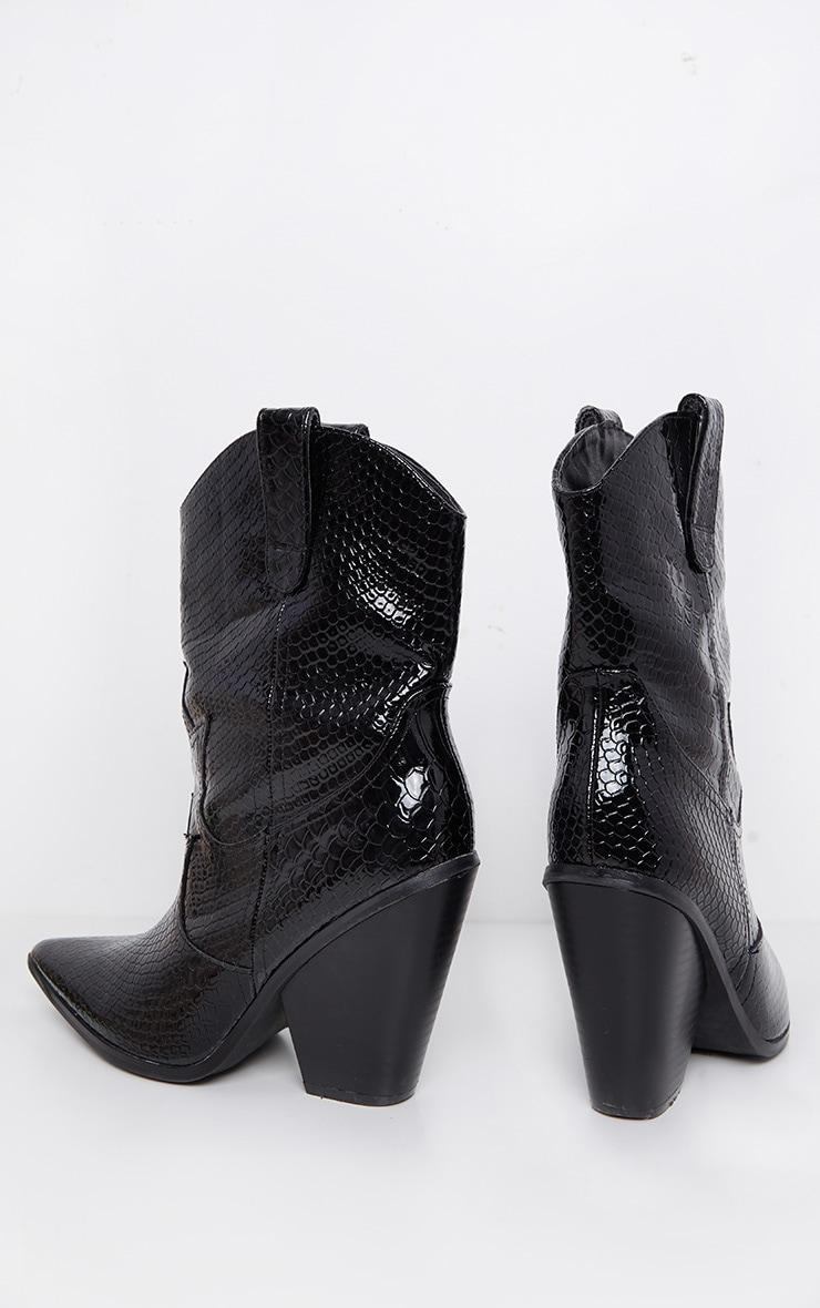 Black Croc Western Boot 4