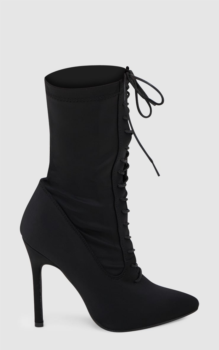 Black Lace Up Front Sock Boots 3