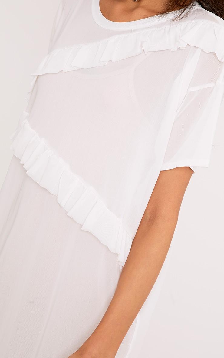 Hannie White Ruffle Mesh T Shirt Dress 5