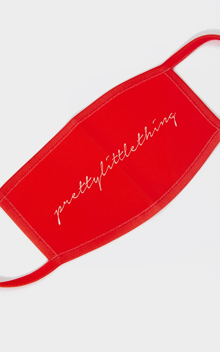 PRETTYLITTLETHING Red Calligraphy Fashion Mask 2
