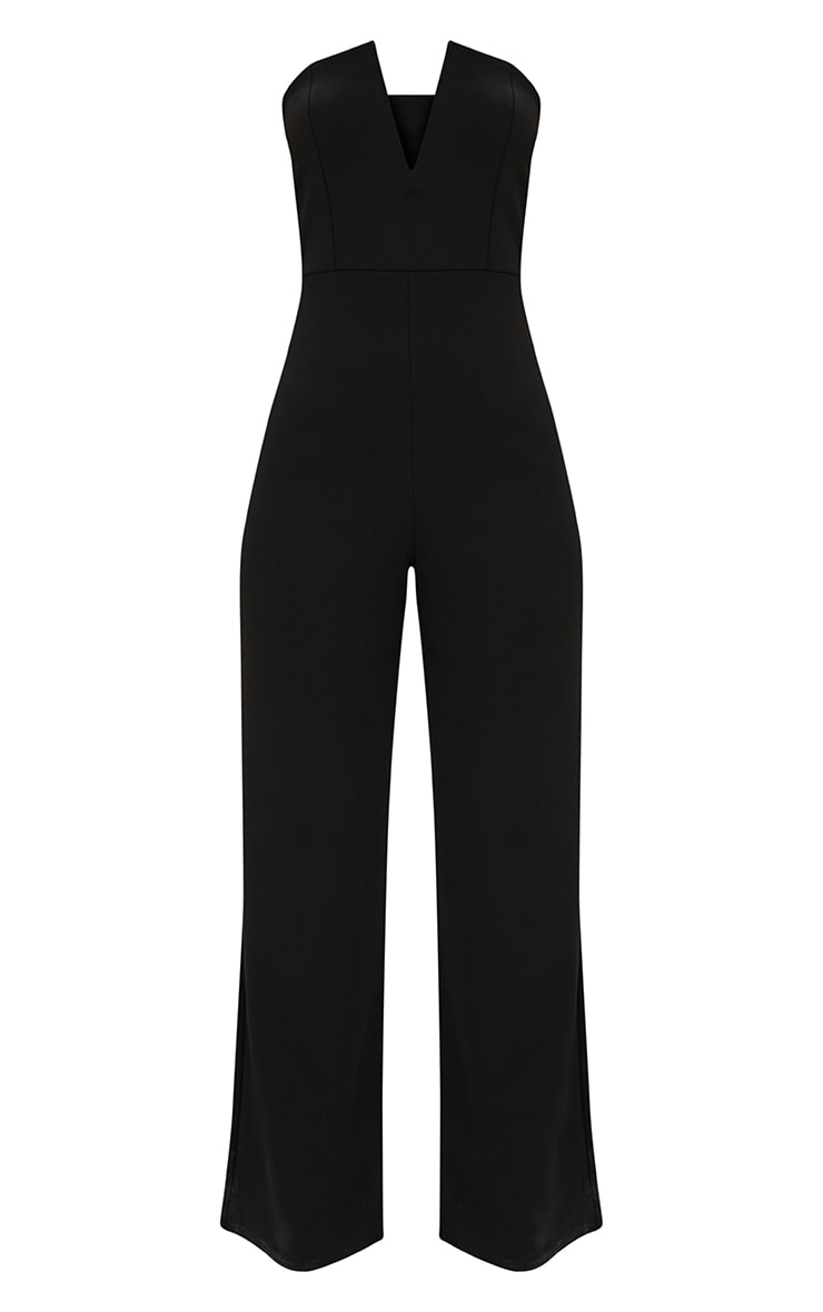 Black Crepe V Neck Bandeau Wide Leg Jumpsuit 3