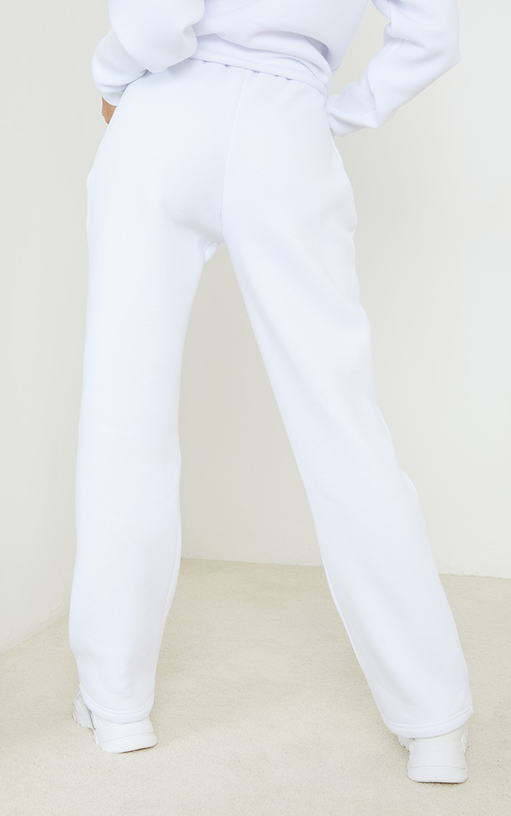 PRETTYLITTLETHING White Badge Detail Straight Leg Joggers 3