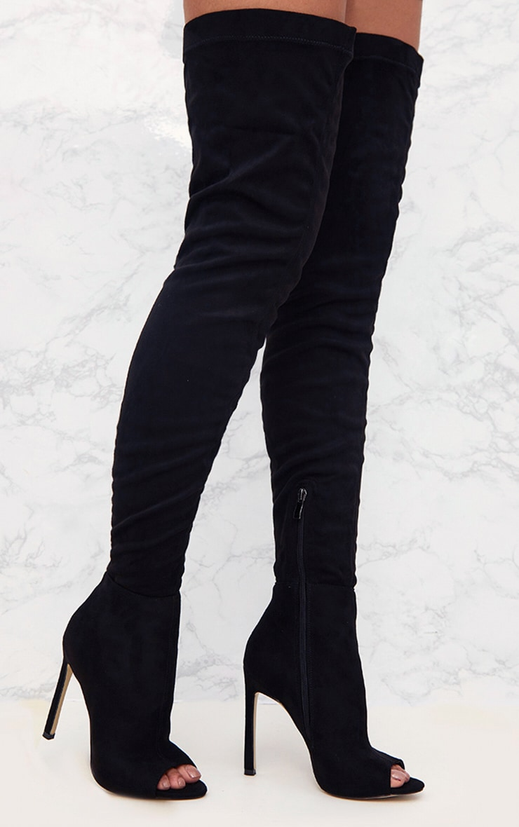 Black Faux Suede Thigh High Peep Toe Heeled Boots 1