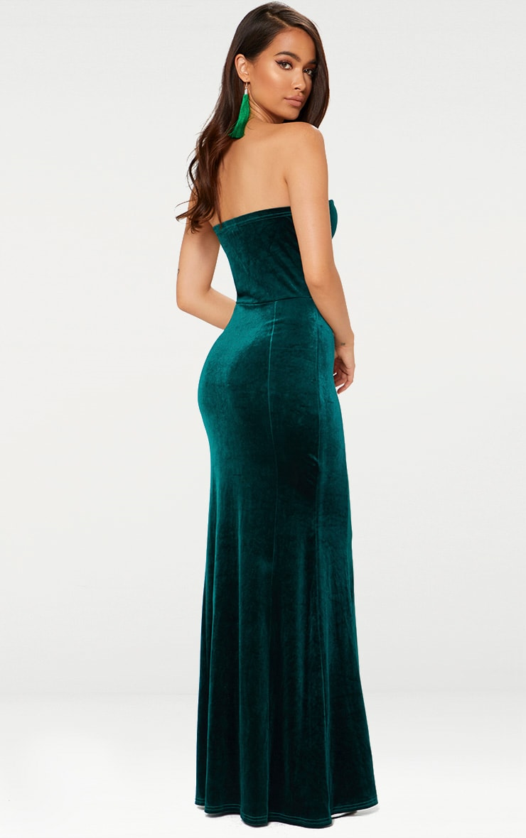 Emerald Green Strapless V Plunge Maxi Dress 2