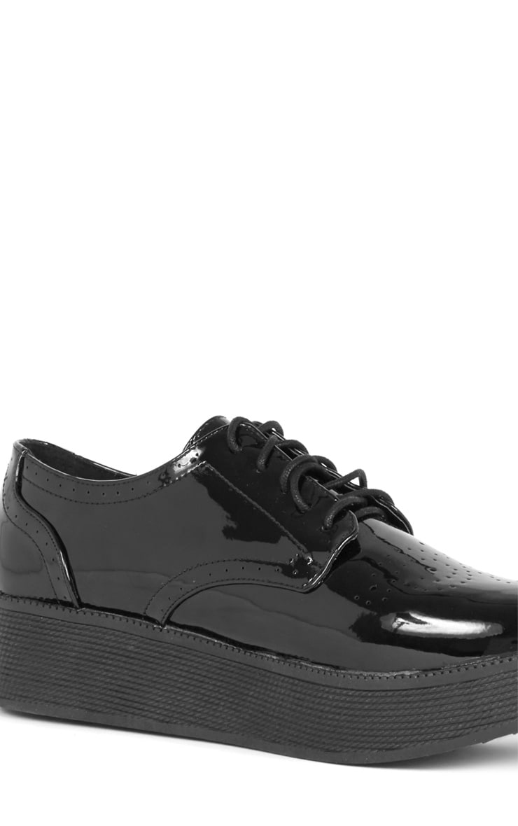 Reza Black Patent Flatform Brogue  3