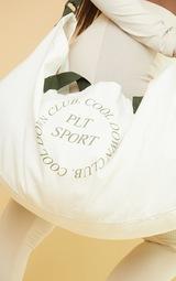 PRETTYLITTLETHING Cream Oversized Sport Canvas Bag 4