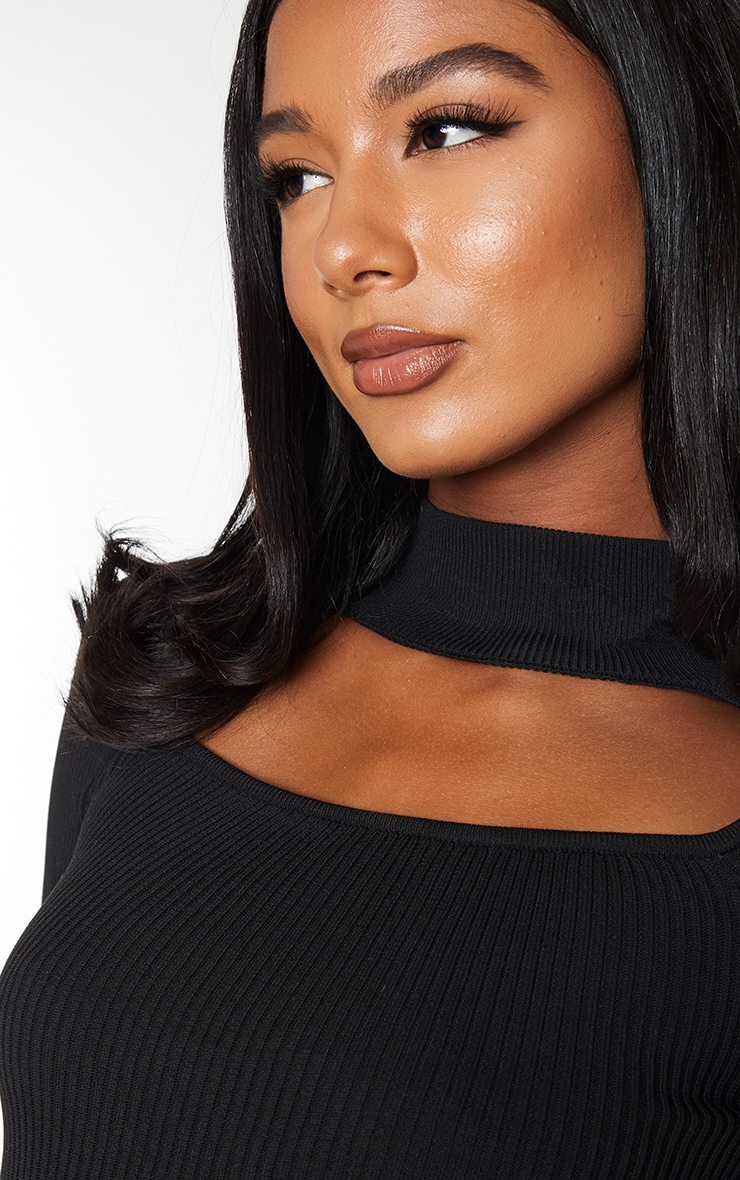Black Choker Neck Detail Knitted Long Sleeve Top 4
