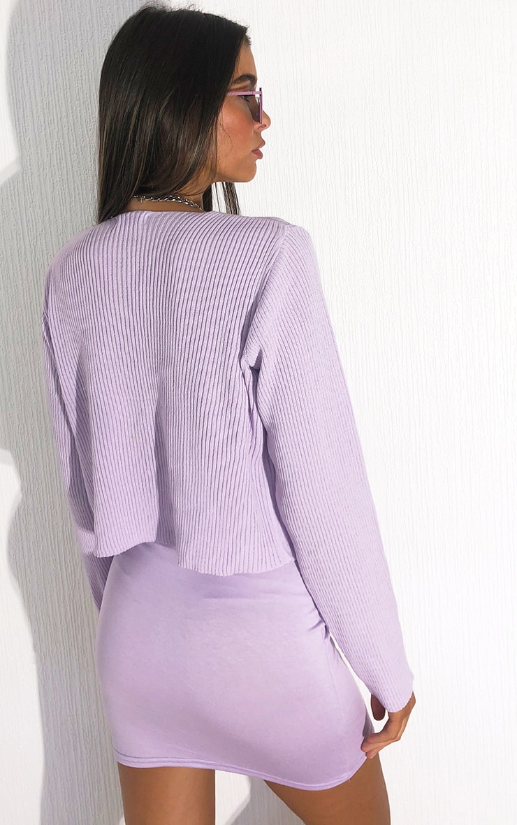 Lilac Tie Front Cardigan 2