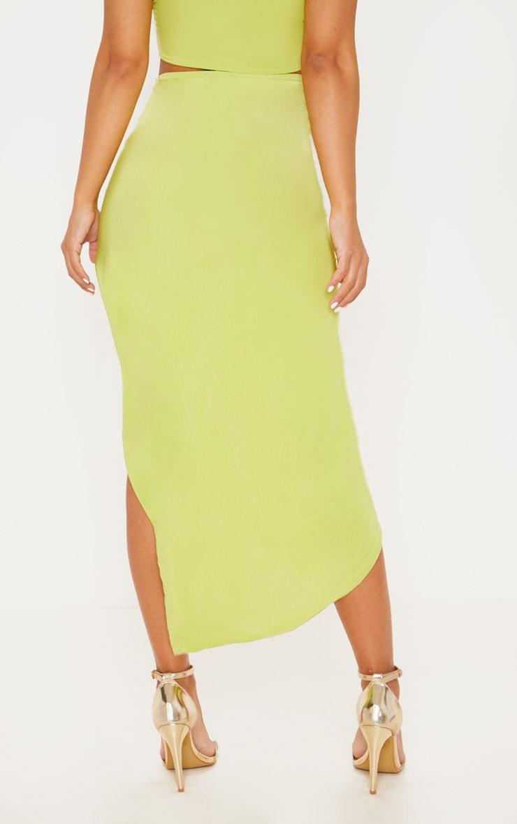 Petite Lime Slinky Knot Front Midi Skirt 4