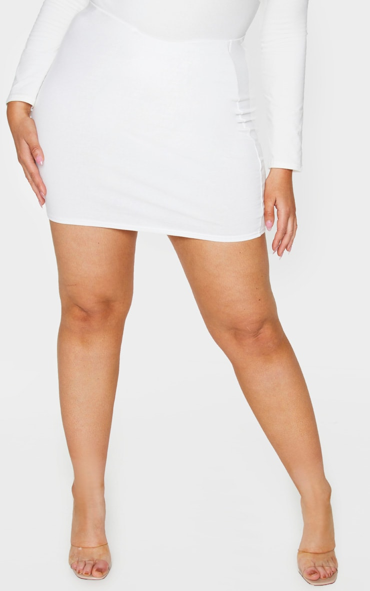 Plus Cream Cotton High Waisted Bodycon Skirt 2