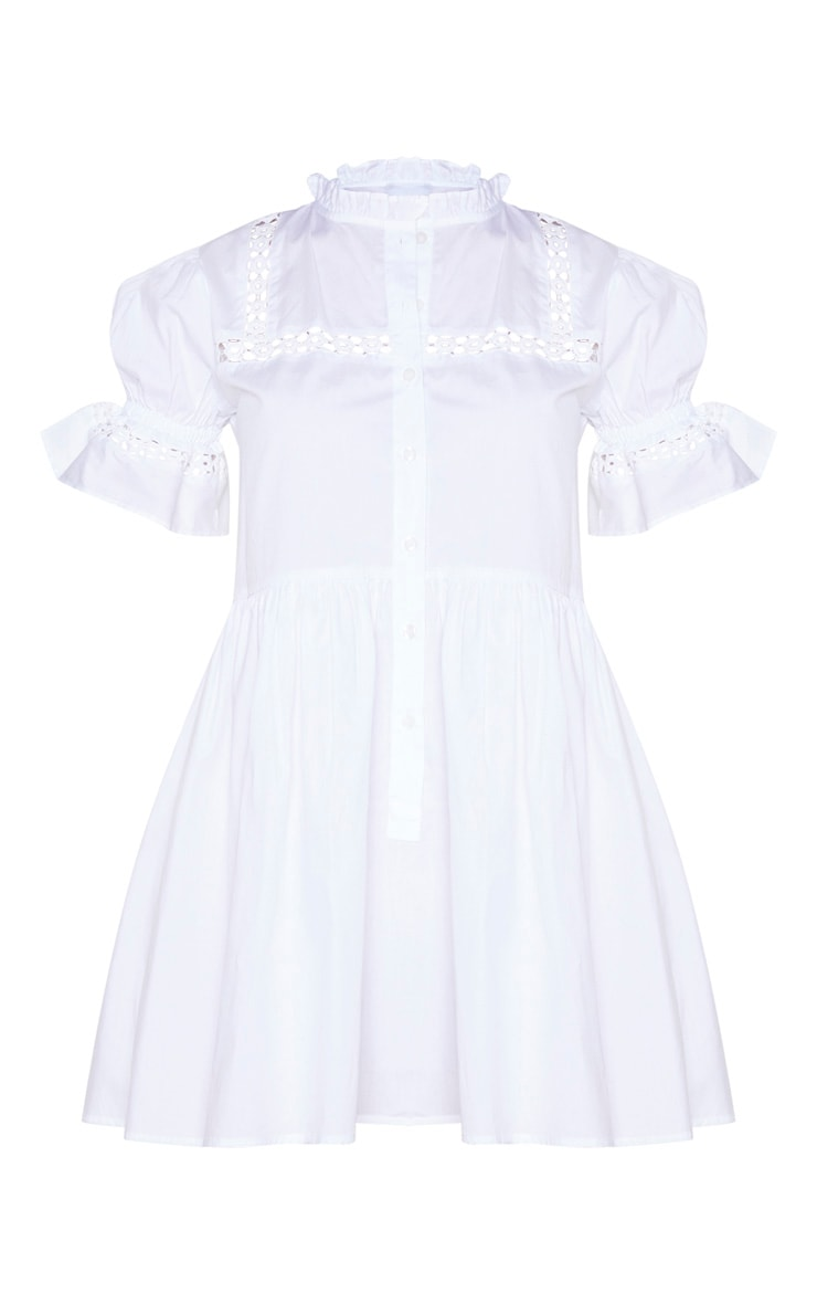 White Button Front Puff Sleeve Poplin Hem Smock Dress 5