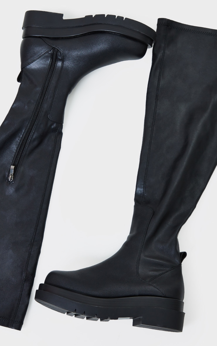 Black Pu Over The Knee Chunky Sole Boots 3