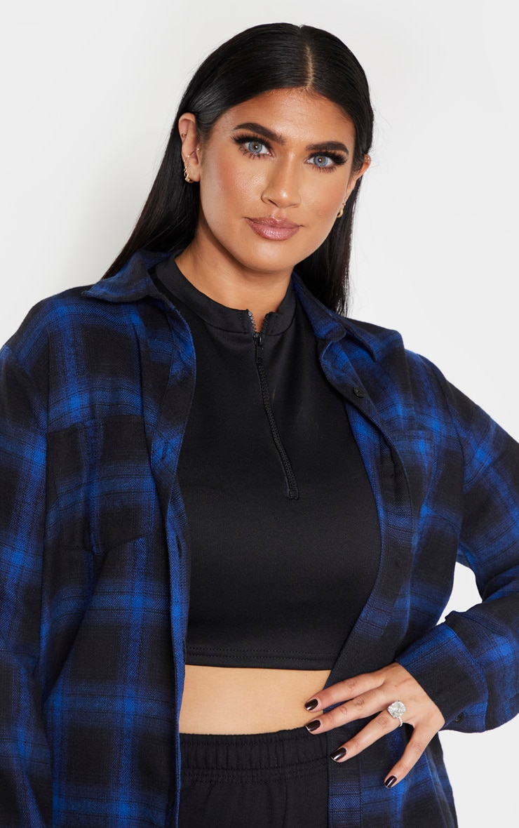Plus Navy Tartan Oversized Shirt  5
