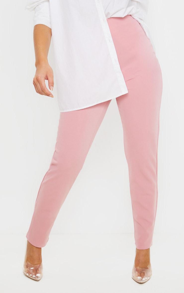 Pastel Pink Slim Leg Crepe Pants 2
