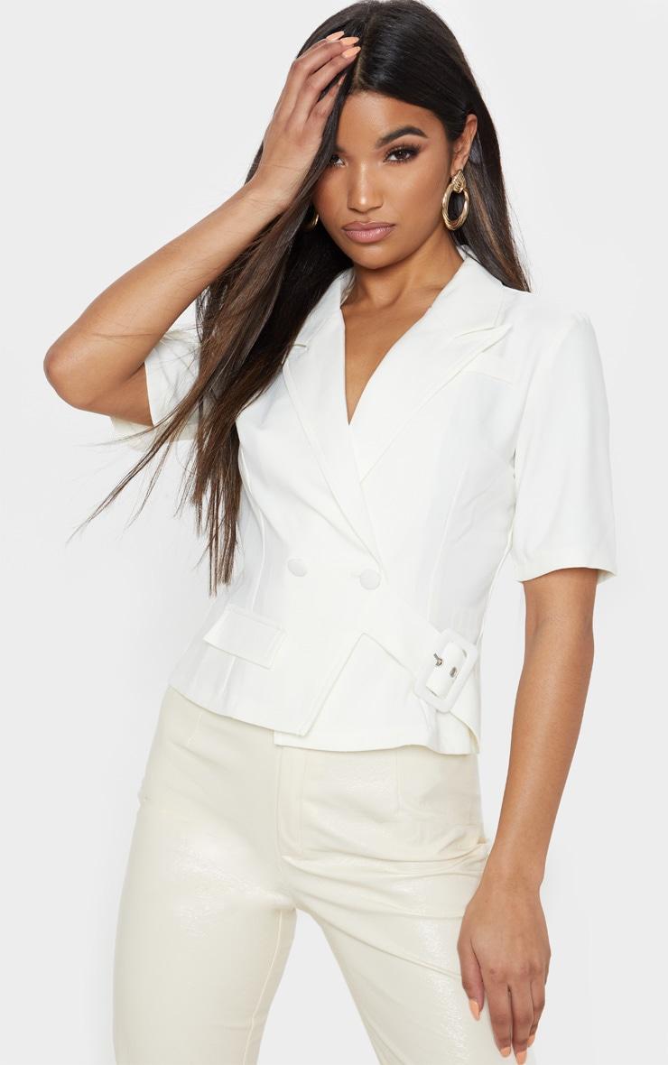 Cream Short Sleeve Military Shirt 1
