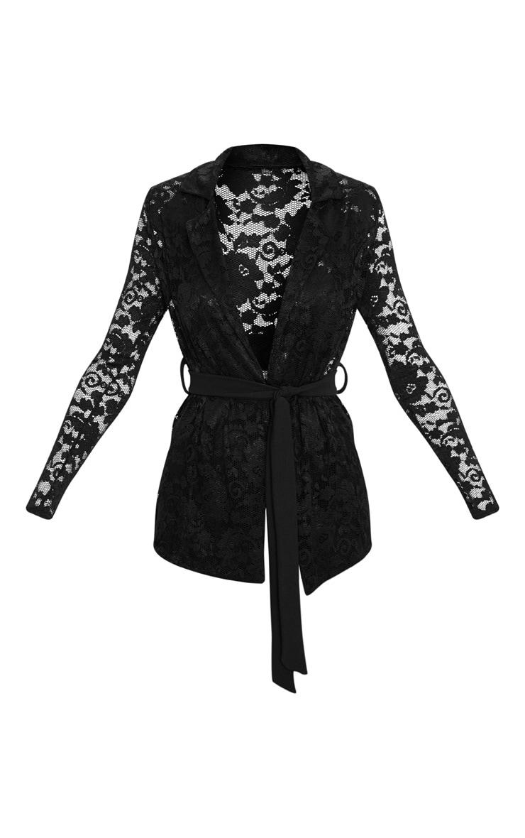 Black Lace Belted Blazer 3