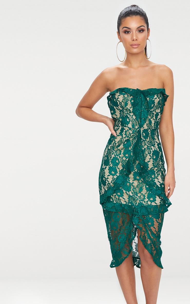 Emerald Green Lace Bandeau Frill Detail Midi Dress  1