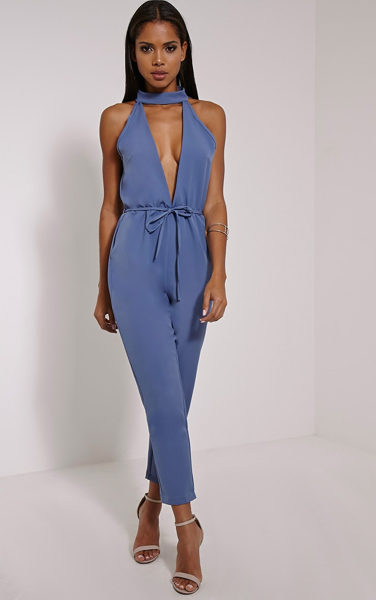 Jeena Petrol Blue Cut Out Detail Jumpsuit 1
