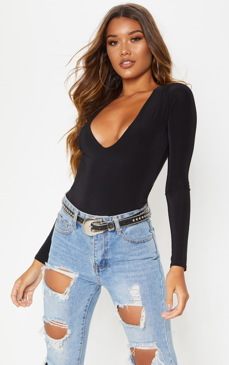 Black V Neck Slinky Bodysuit 1
