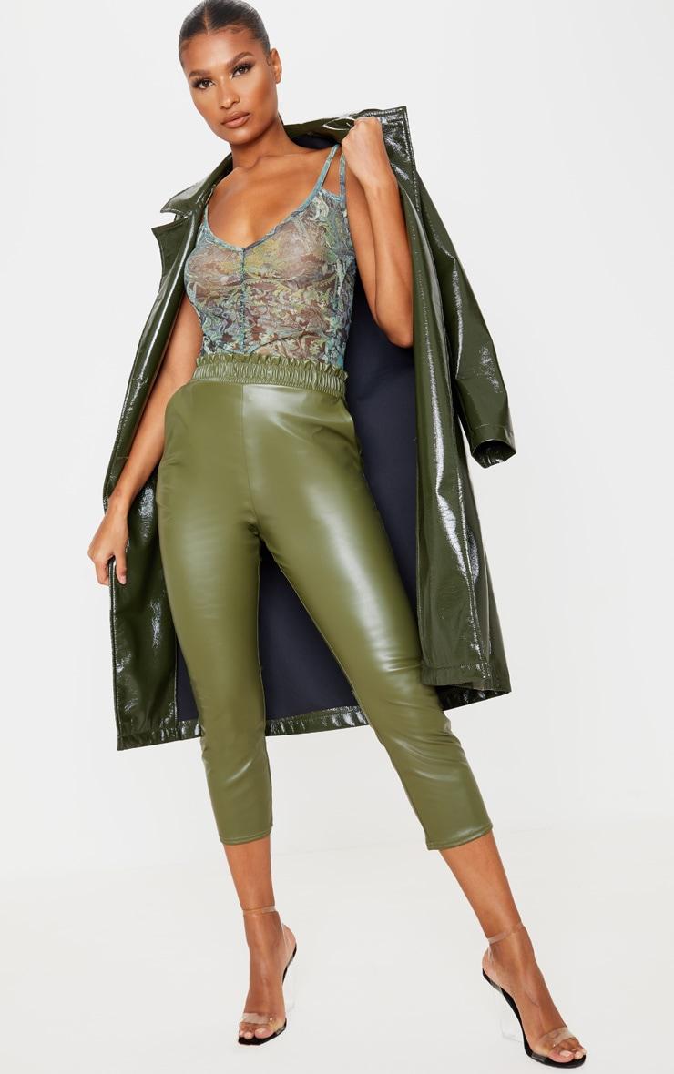 Green Oriental Printed Strappy Plunge Bodysuit 5