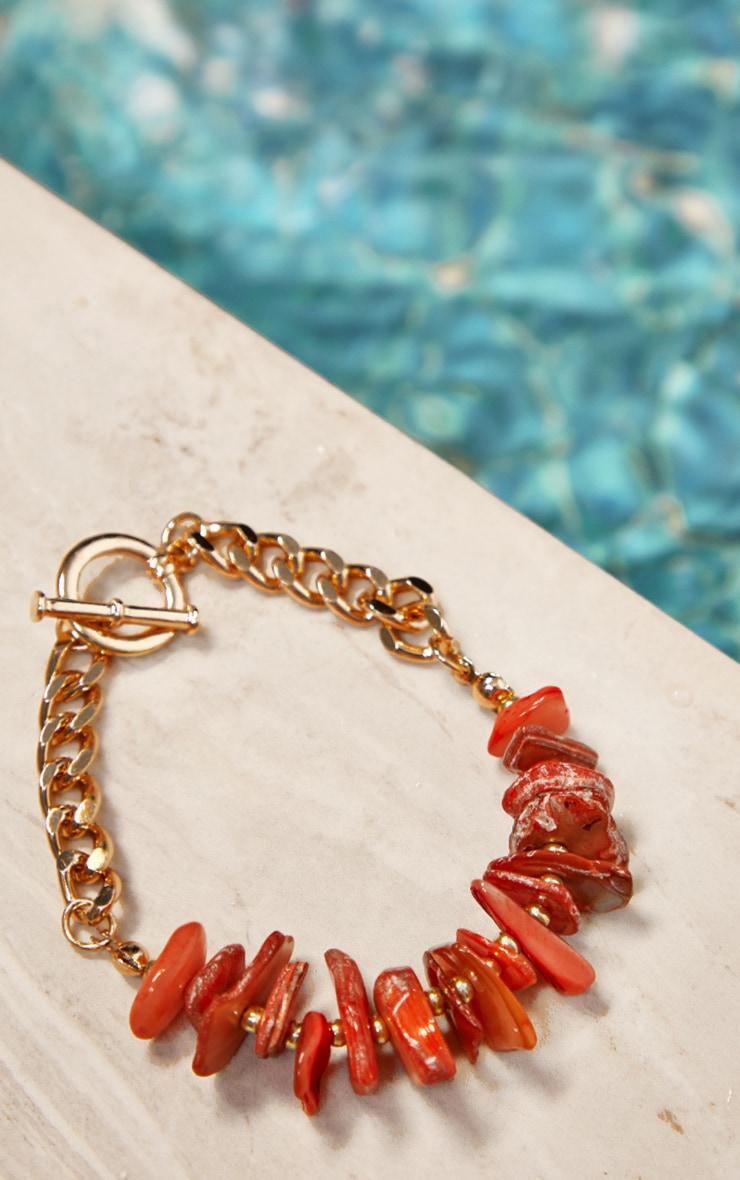 Orange Assorted Shell Bead T Bar Bracelet 1