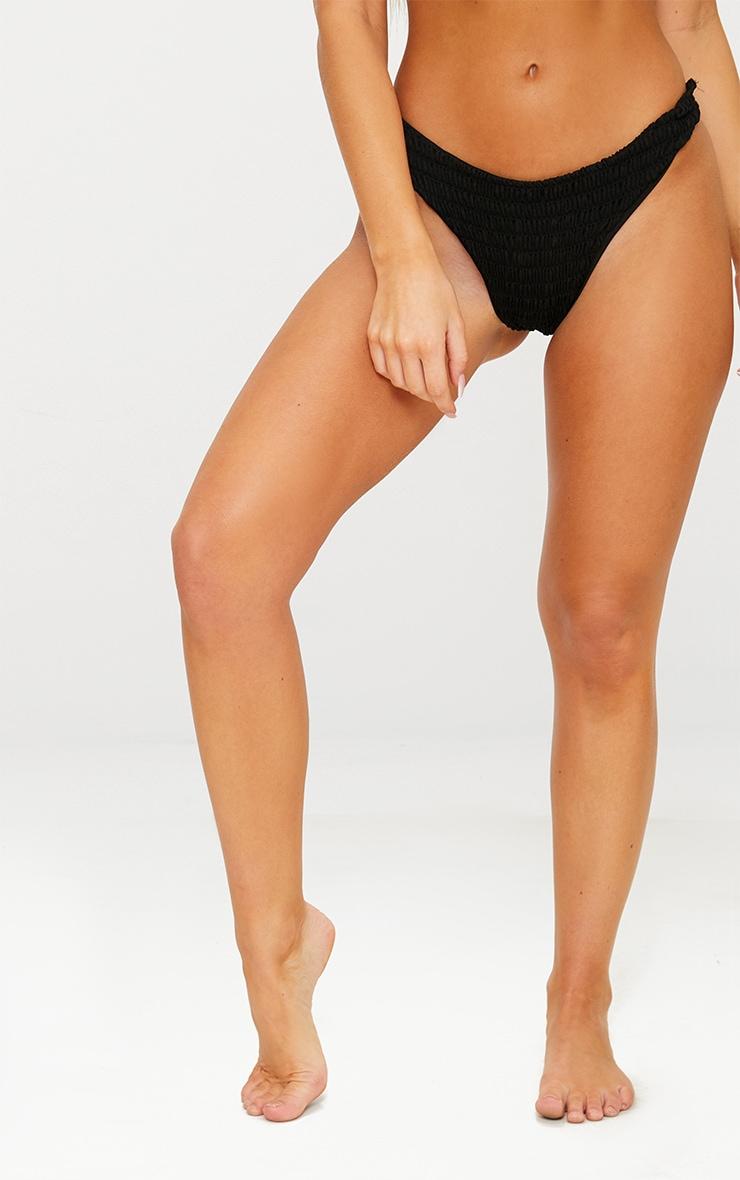 Black Crinkle Brazilian Thong Bikini Bottom 2