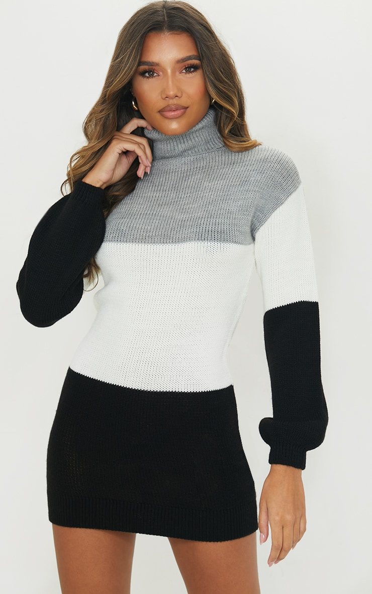 Grey Color Block Chunky Roll Neck Sweater Dress 1