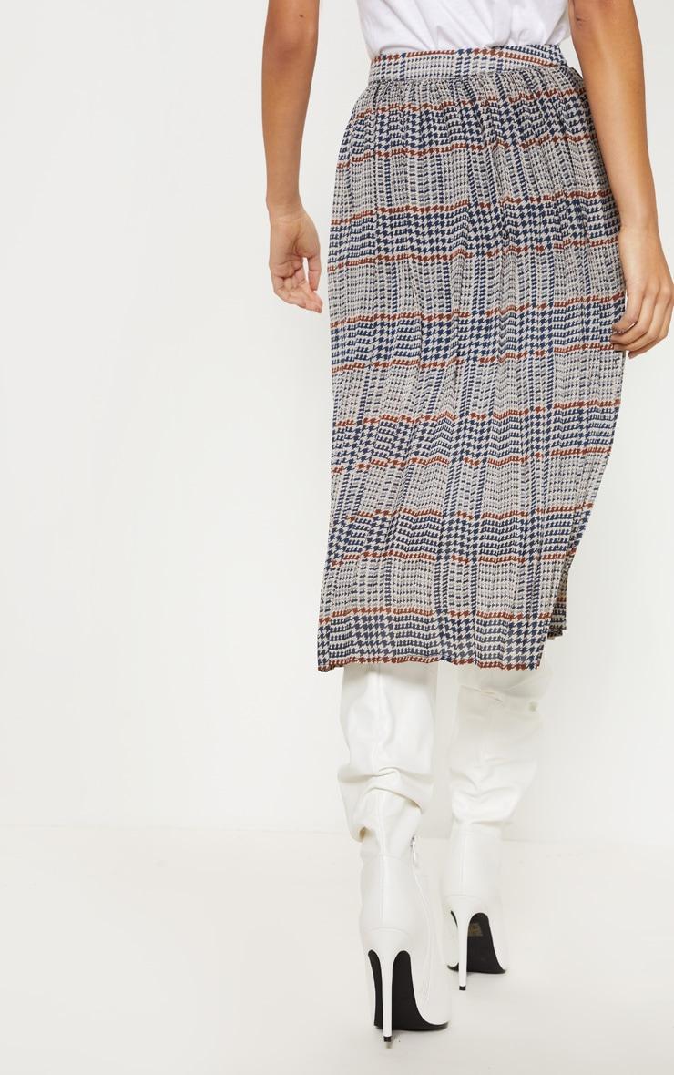 Brown Check Print Pleated Midi Skirt  3