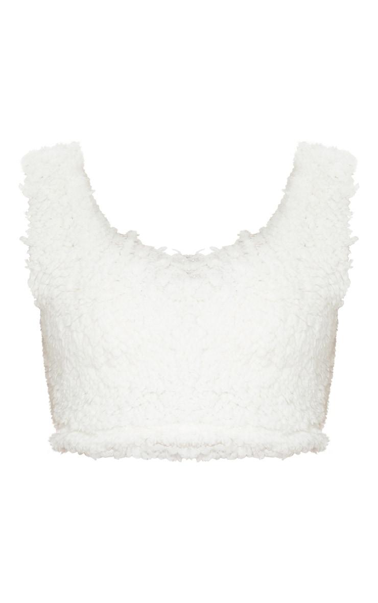 Bralette effet faux mouton blanc à col rond 5