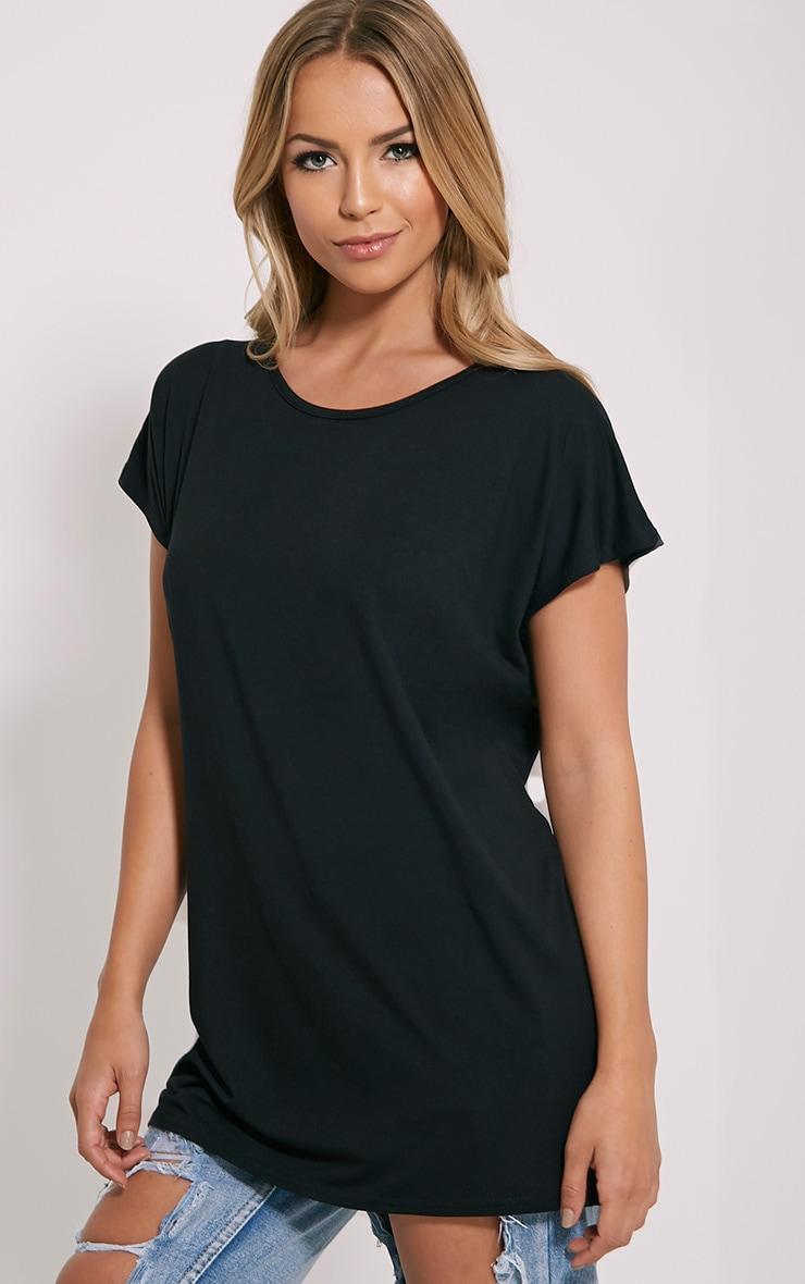 Basic t-shirt surdimensionné à col rond noir 4